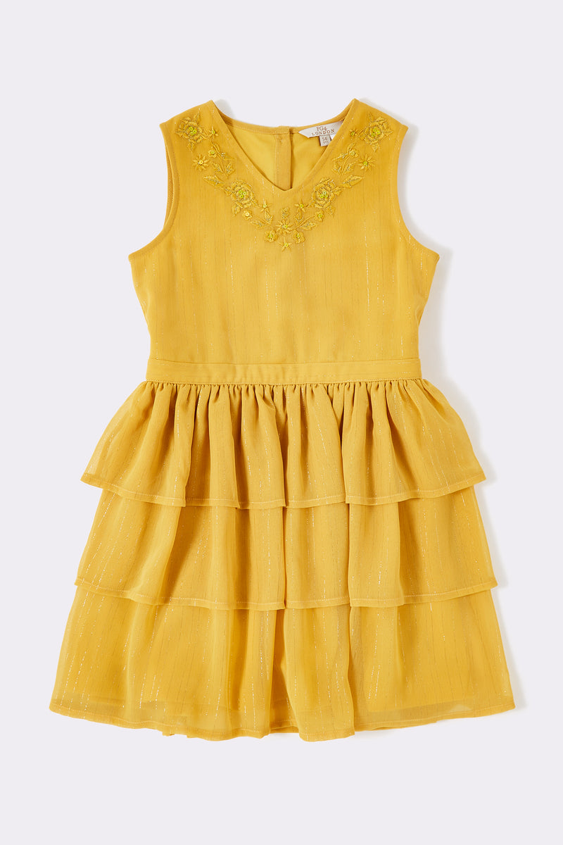 Girls Yellow sleeveless dress with tiered skirt and embellishment detail