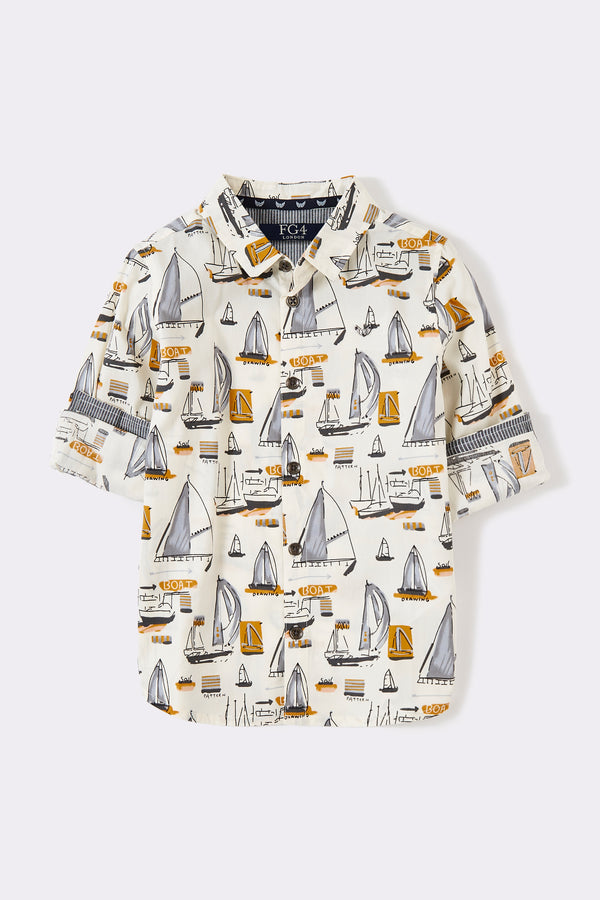 White sail boats pattern roll up long sleeve boys shirt with front buttons