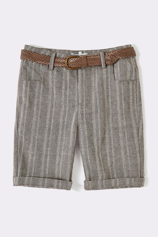 Brown textured knee length boys shorts with pockets and detachable belt