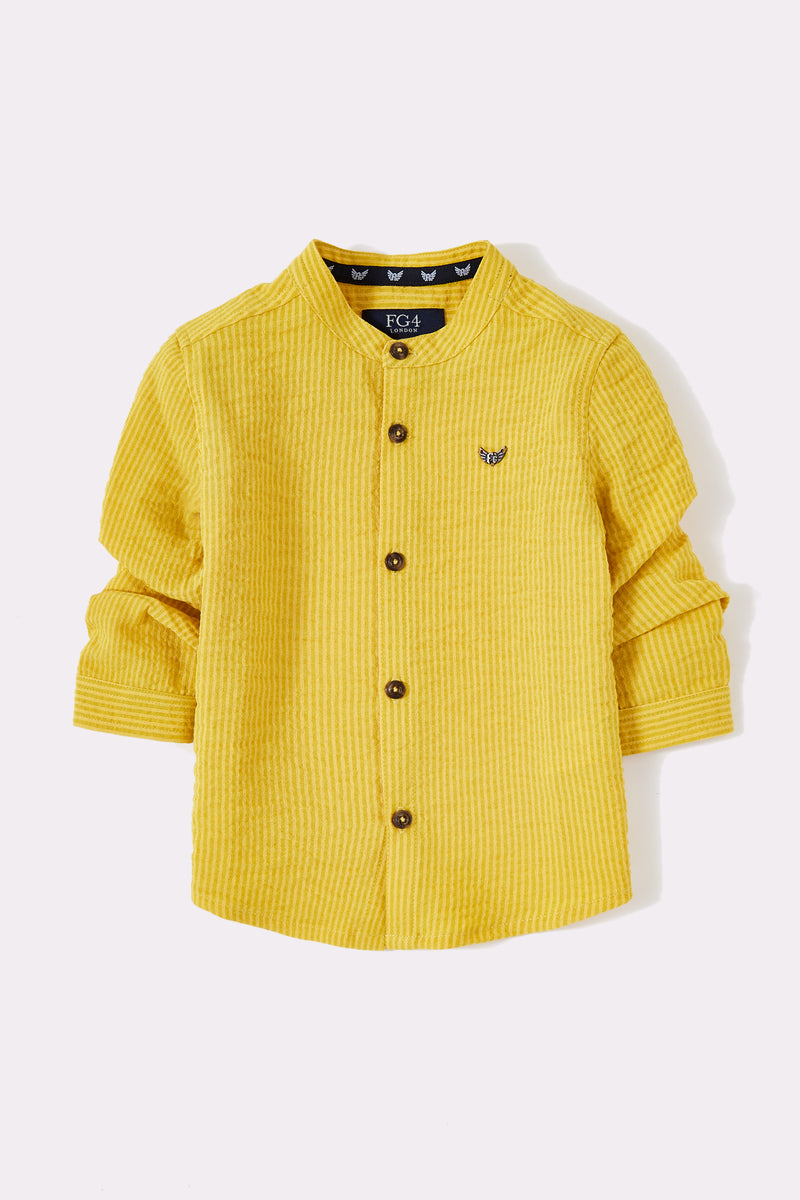 yellow shirt with long sleeve, button through with grandad collar