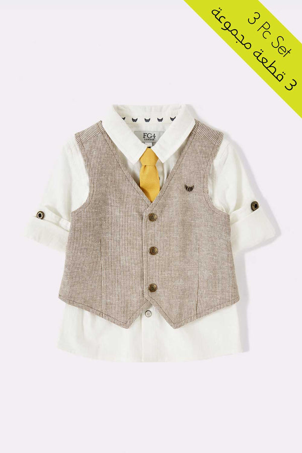 3 piece set, white color shirt with rolled up, waistcoat in brown color with 3 buttons, detachable tie in yellow color