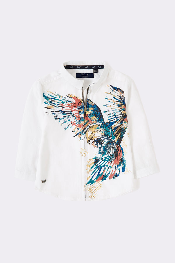Boys white long sleeve grandad collar shirt with front zip opening and front graphic bird print