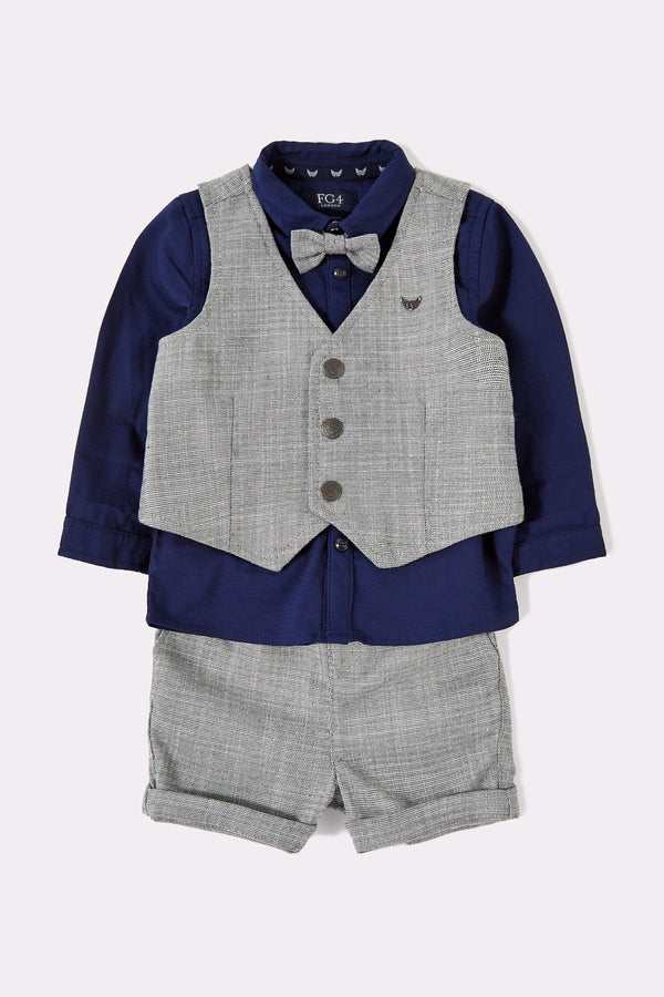3 piece boys set with grey waistcoat, long navy shirt, grey shorts and grey detachable bowtie