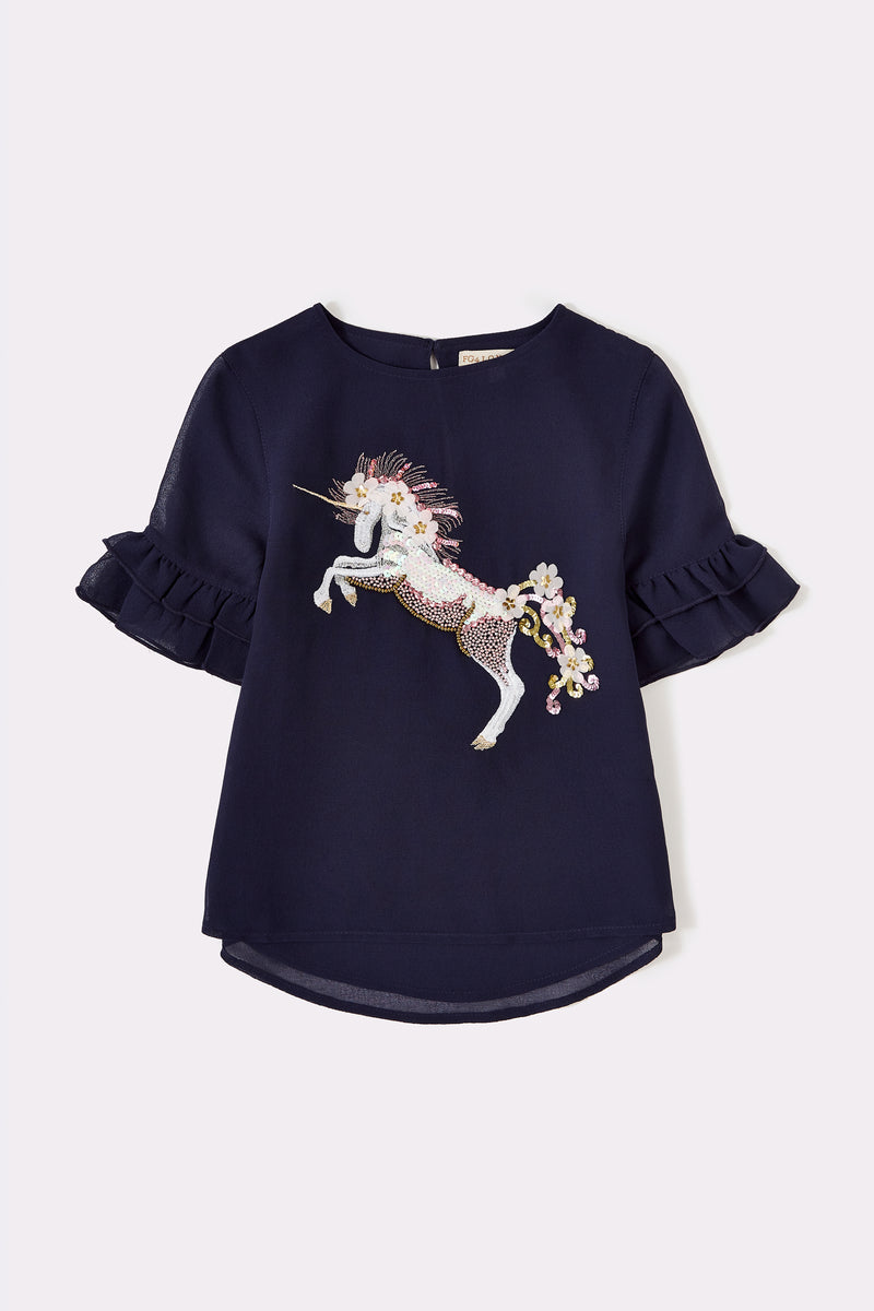 Navy girls short sleeve top with frill sleeves and unicorn embellishment on front