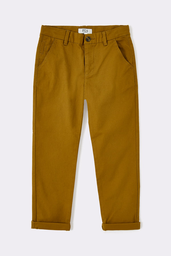 Slim leg tabacco boys chino trousers with pockets