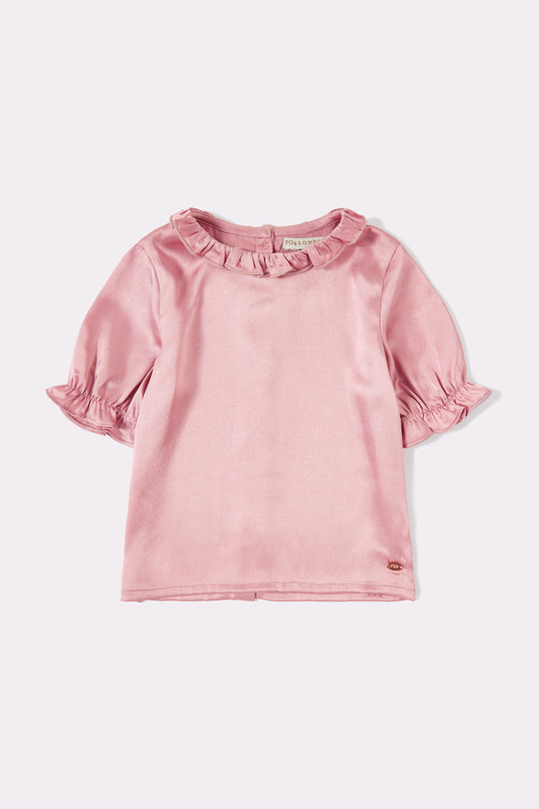 Pink short sleeve girls top with round neck and frill trim on neck and sleeves