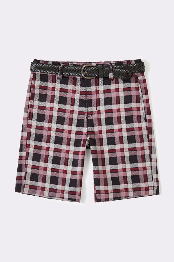 Multi Check Boys shorts with detachable belts and pockets