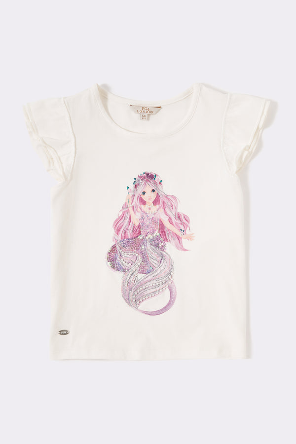 Cream short sleeve round neck girls top with front print mermaid embellishment and frill sleeve trim