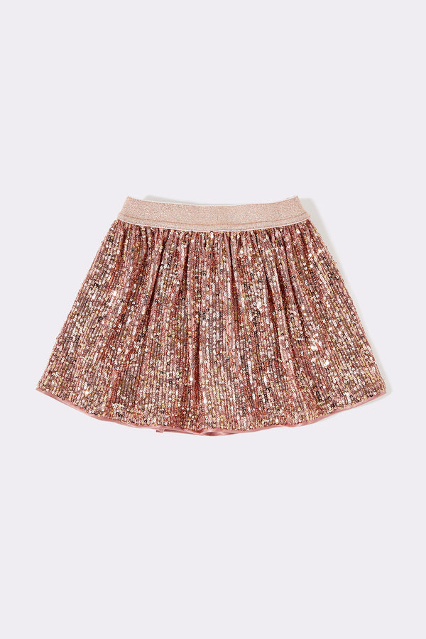Pink sequin knee length baby toddler girls skirt with elasticated waist