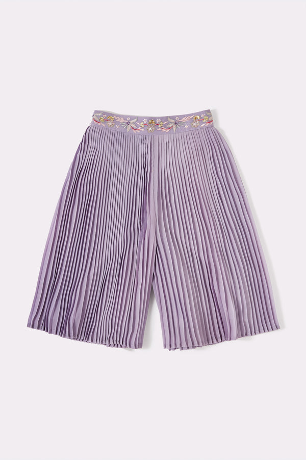 Girls Lilac pleated culottes with embroidered waistband