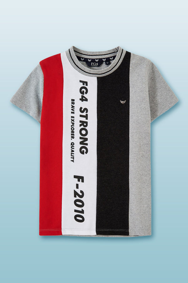Short sleeve round neck pique T-shirt with horizontal cut and sew panels and FG4 typographic high build rubber print.