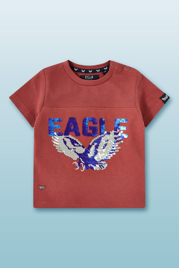 red t shirt for toddler boys with reversible sequined eagle print