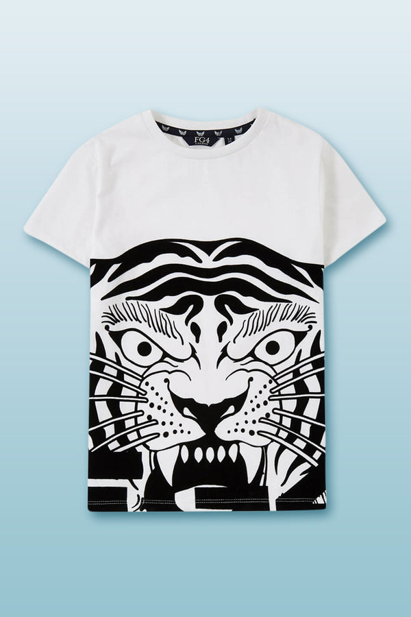 White boys tee with bold tiger face graphic in front printed in black round neck cotton
