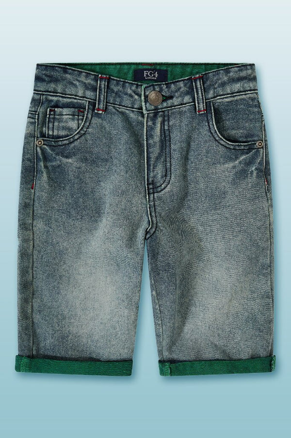 knee length denim shorts with green hem folds at the bottom