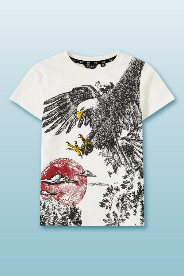 round neck white t-shirt for boys, with large eagle print, stylish graphic design