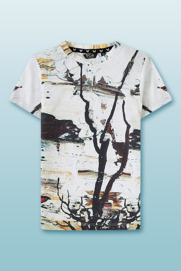 Round neck boys tee, with photographic scene print, lightweight cotton material
