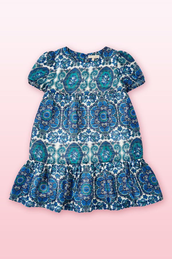 trendy blueprint all over and puff short sleeves, below the knee length  girls dress.