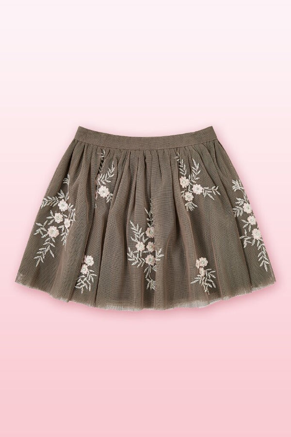 Knee length, mesh skirt with floral embroidery and an elasticated waistband