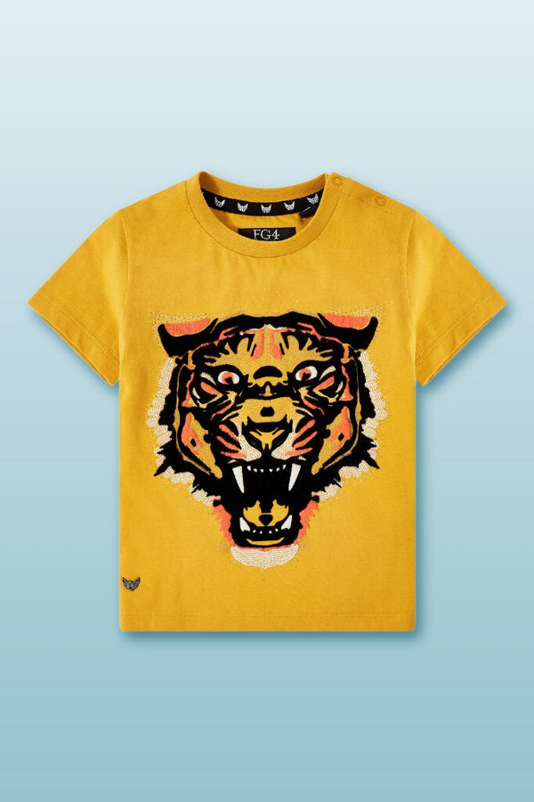 round neck tee for boys in mustard with bold tiger graphic logo in front