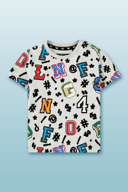 beige white round neck tee for boys in colourful letter and number badges