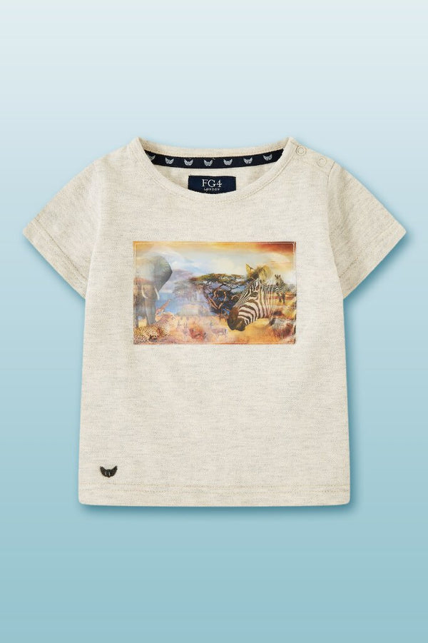 beige round neck tee with holographic safari photo with metallic eagle logo