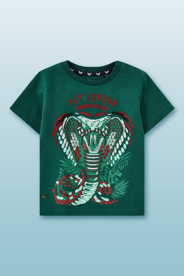 greed round neck tee for boys with bold snake graphic in front