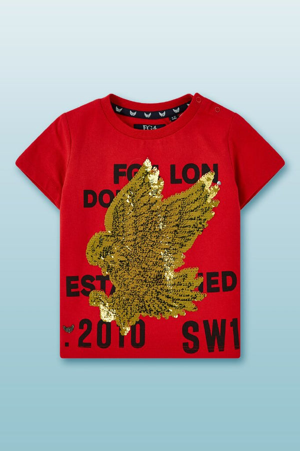 Red round neck boys tee with reversible eagle sequin in gold