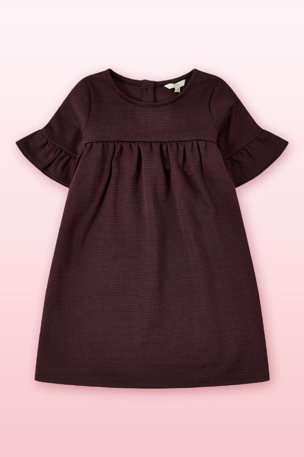 purple round neck empire dress in frill short sleeves above the knee length.