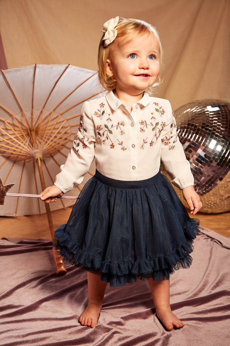 Long sleeve baby toddler girls dress with embroidered pattern on the front with front buttons and multi layered mesh skirt.