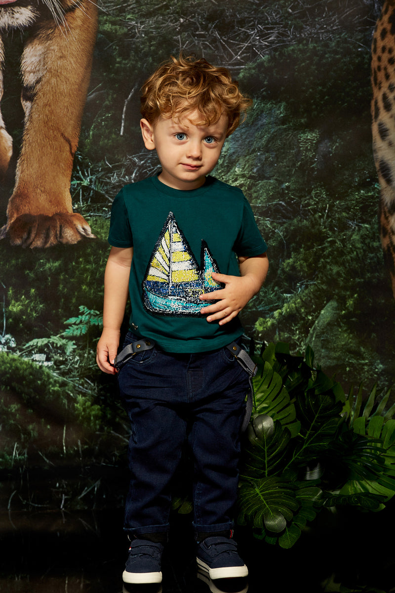 Green t-shirt with short sleeves and front print for Baby Toddler boys