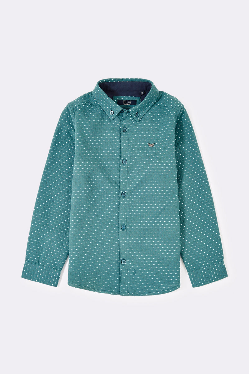 Blue green long sleeve boys shirt with front buttons and button down collar