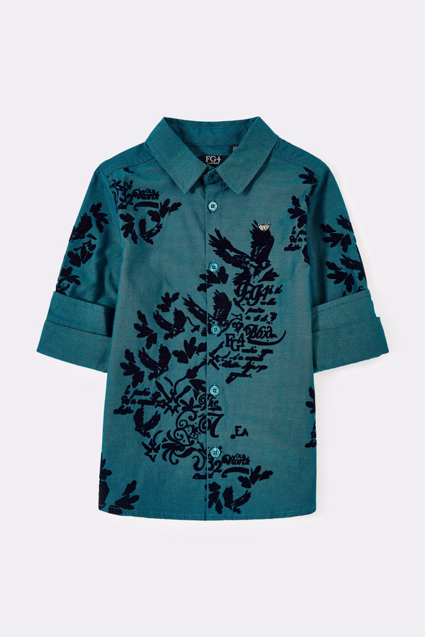 Long or rolled up sleeves boys shirt in teal with texture print