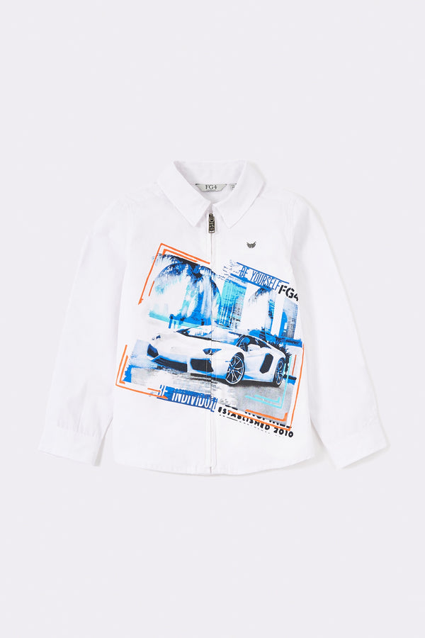 White long sleeve front zip boys shirt with sports car pattern print