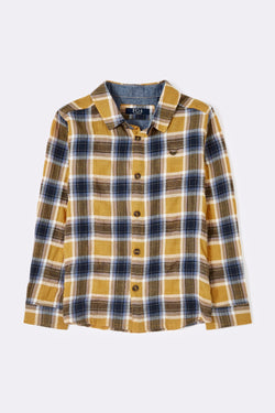 Checkered yelow and blue collar polo with buttons long sleeve