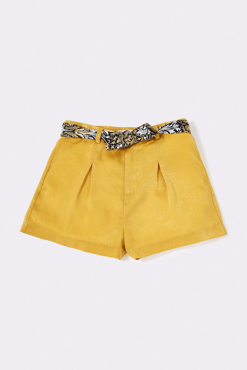 Mustard Pleat detail shorts with belt