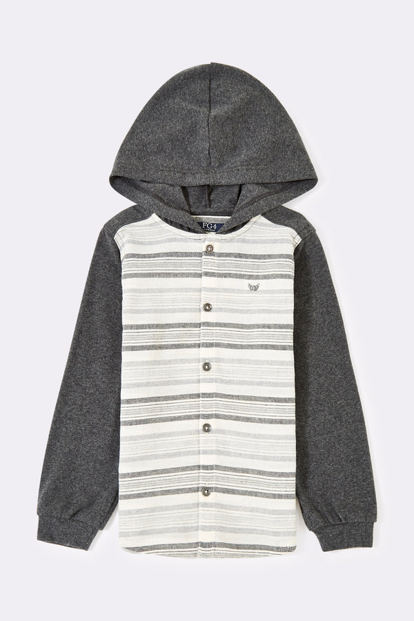 Multi Stripe long sleeve boys shirt with hood and front buttons