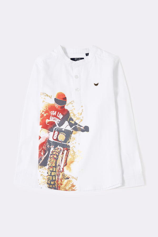 Long sleeve white boys shirt with front buttons and bike print