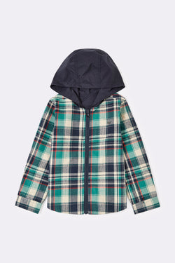 Reversible check long sleeve shirt with hood and font zip