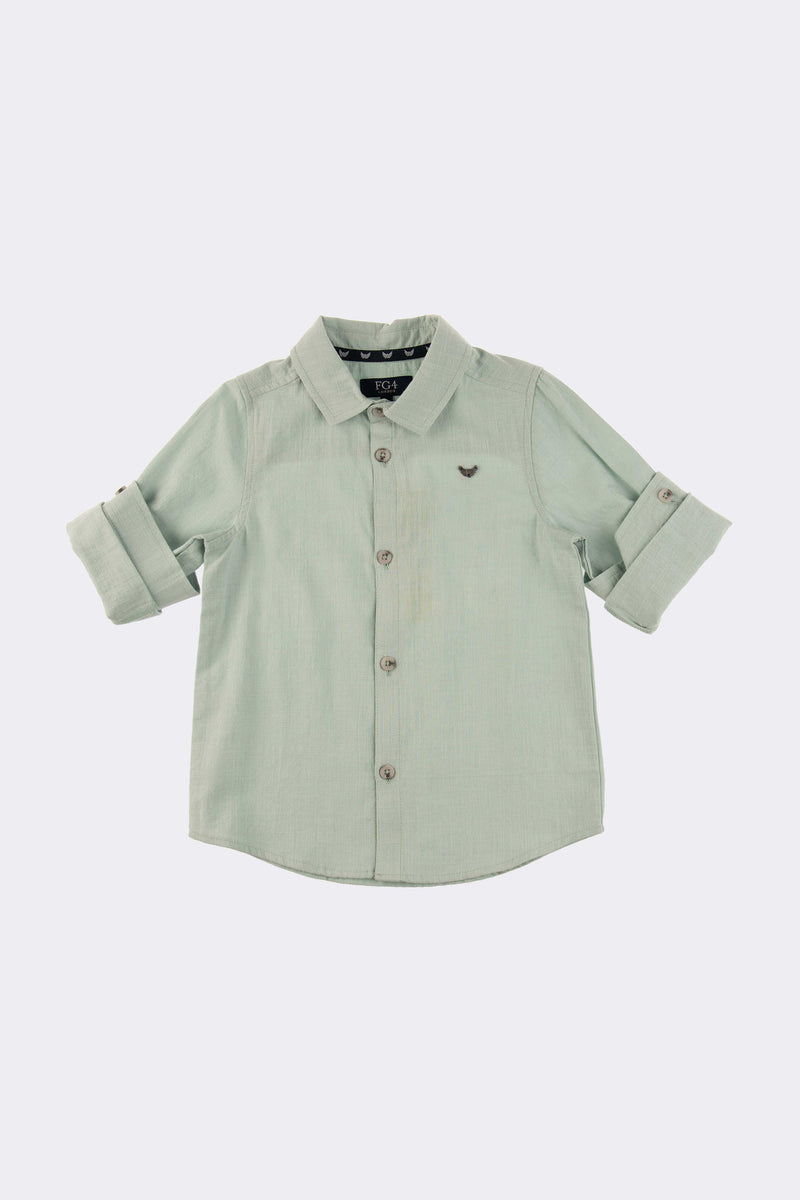 Mint colour short sleeve shirt with front button opening