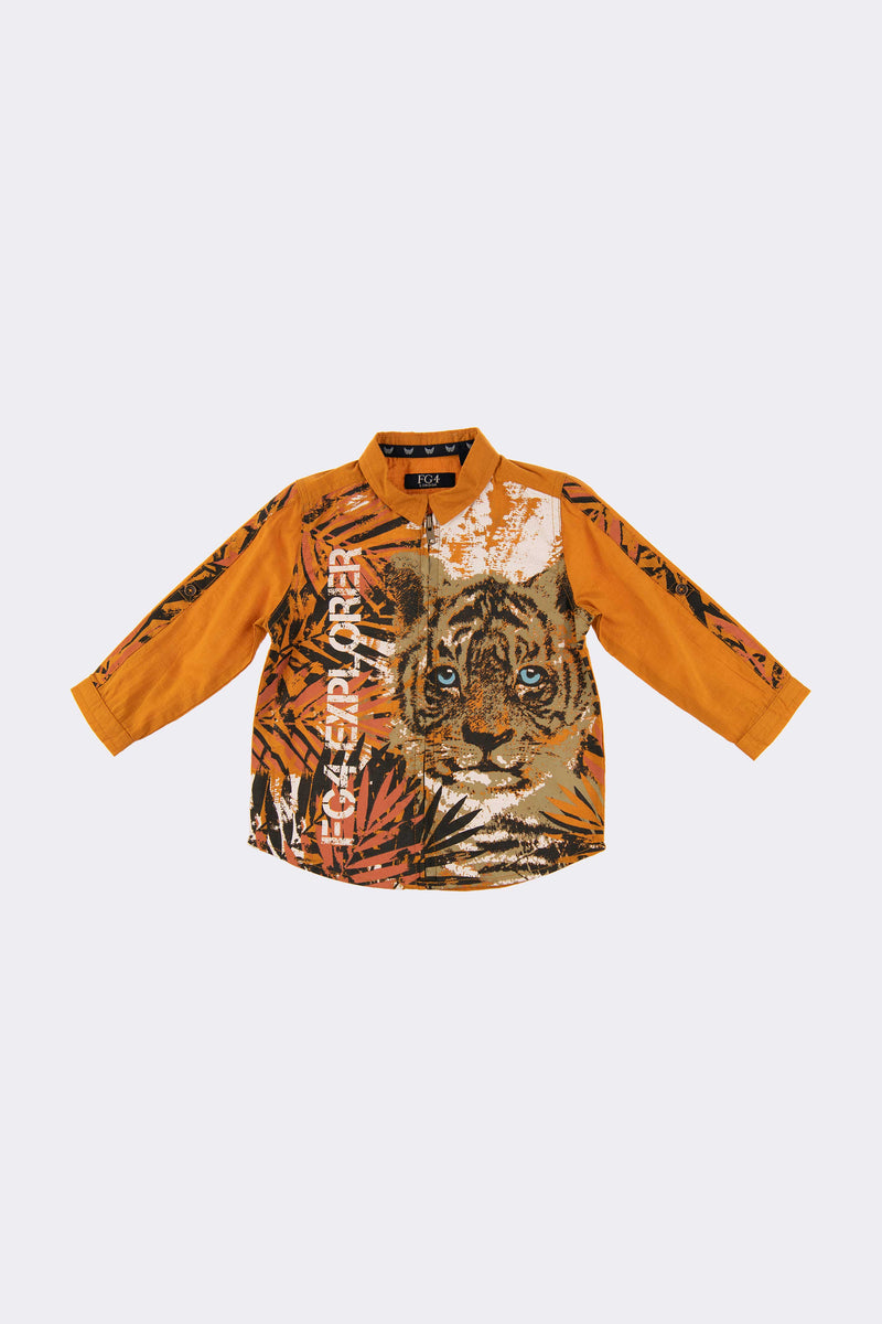 Orange long sleeve boys shirt with a tiger print all over the front