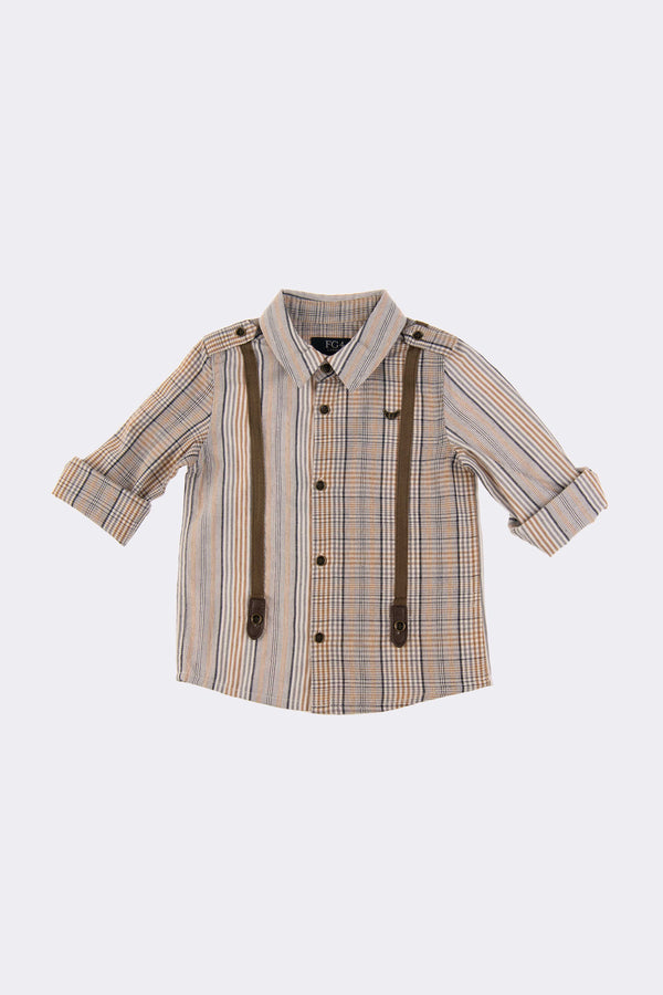 Multi colour check boys shirt with optional roll up sleeves and detachable braces