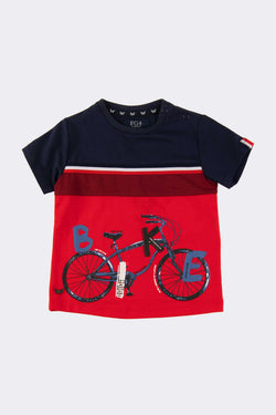 Navy and Red boys t shirt with bike print on front.