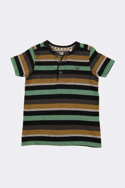 Multi stripe boys tops with front button neck opening