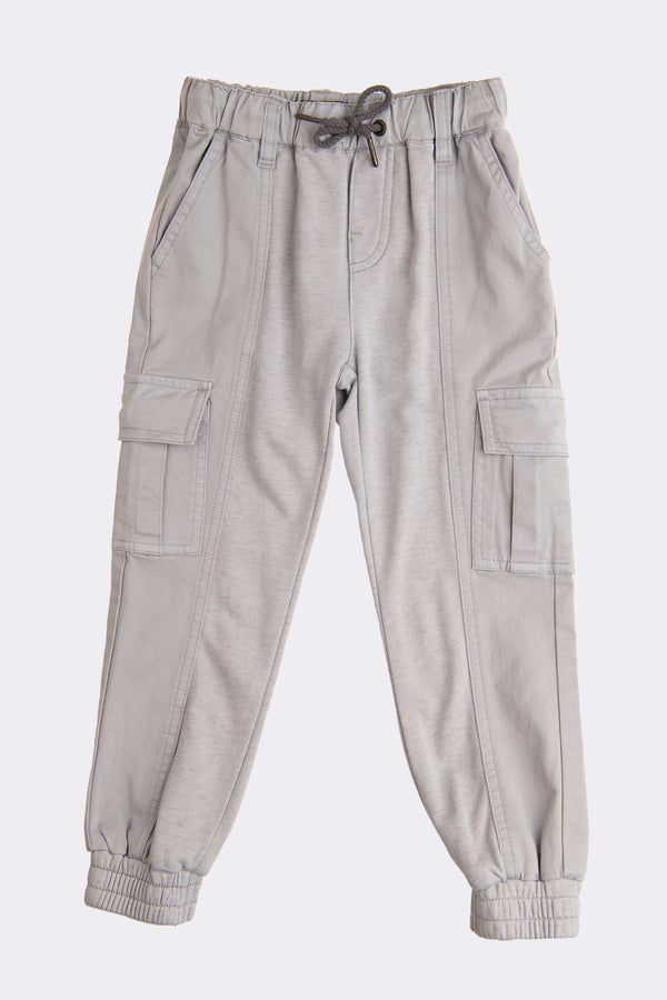 Grey full length boy joggers with pockets and tie cord