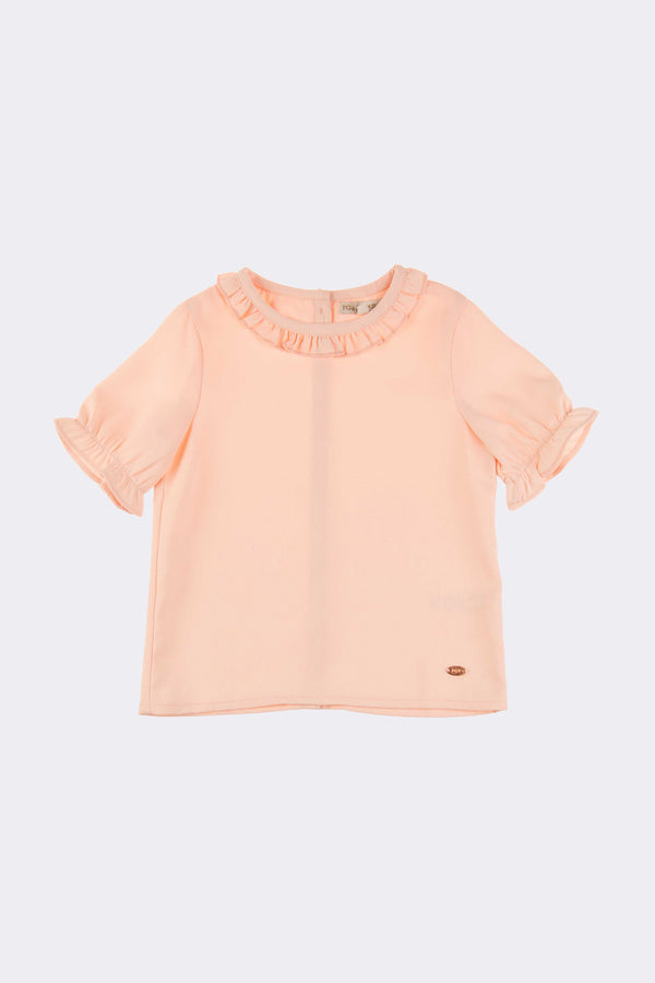 Pink girls top with half sleeves, round neck and back opening buttons