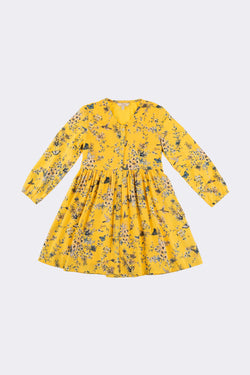 Mustard colour patterned long sleeve, knee length girls dress with front opening buttons