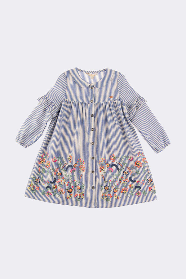 Long sleeve blue girls dress with floral embroidery at the bottom and font opening buttons