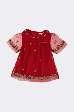 Red girls short sleeve top with folded down collars and floral embroidery on the front