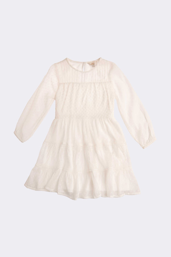 Cream long sleeve, knee length girls dress with round neckline