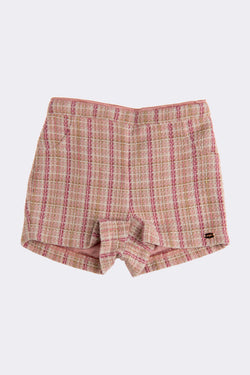 Pink checked girls shorts